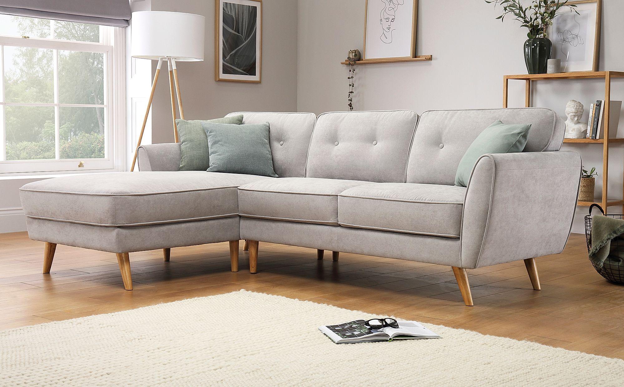 Harlow Dove Grey Plush Fabric L Shape Corner Sofa Lhf Furniture Choice In 2020 Corner Sofa Furniture Choice Small Couches Living Room
