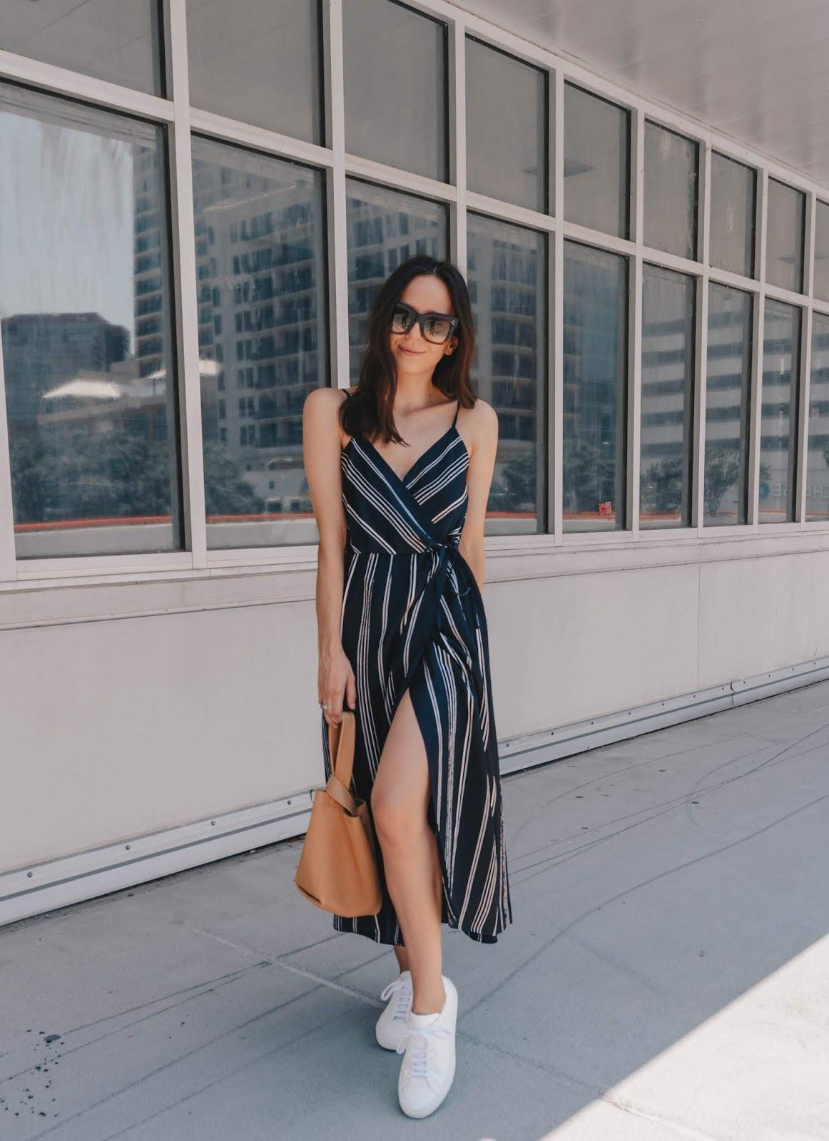 Slip dress and sneaker outfit. | Simple summer outfits, Dress and sneakers  outfit, Dress with sneakers