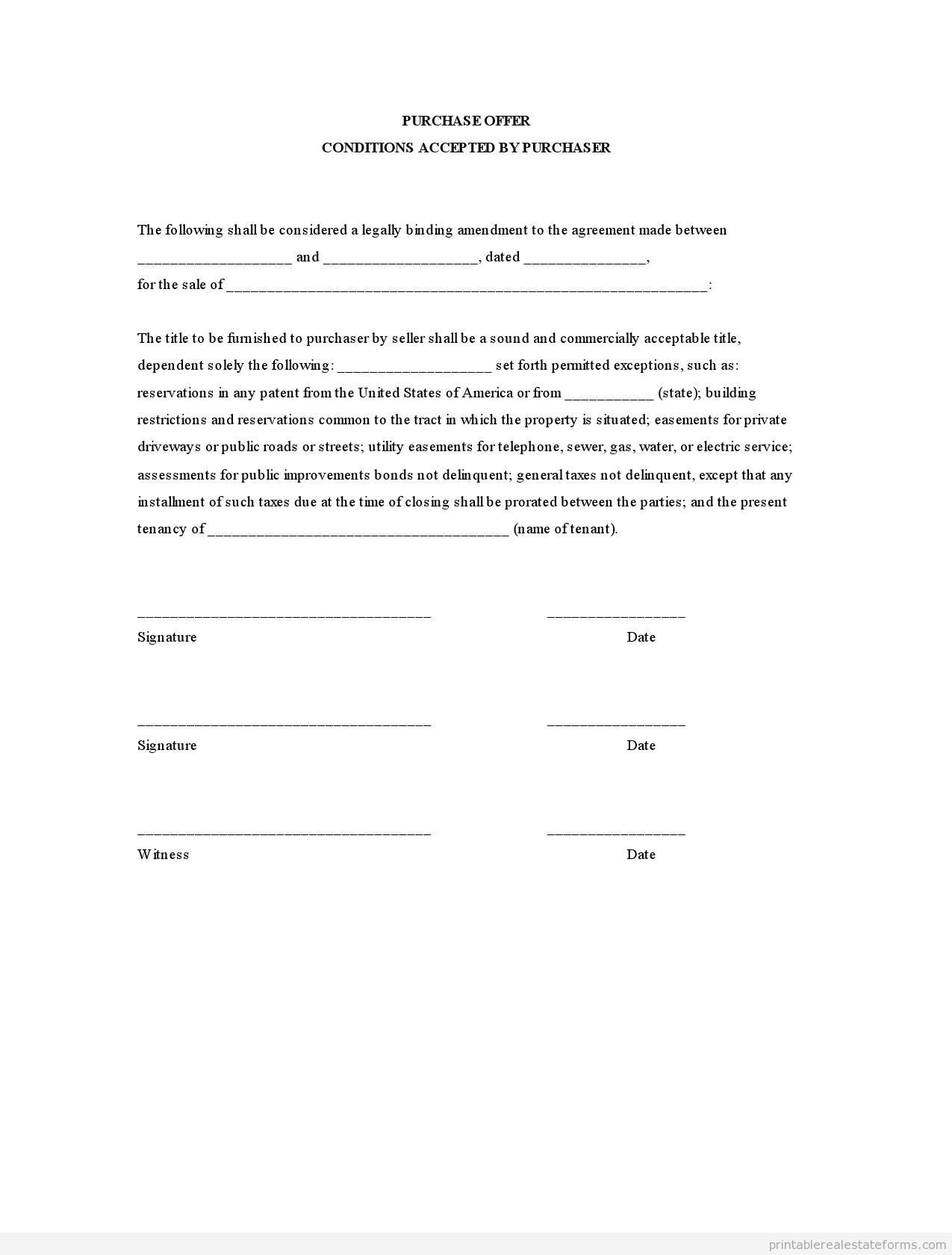 Get High Quality Printable Purchase Offer FormPURCHASE OFFER – Printable Purchase Agreement