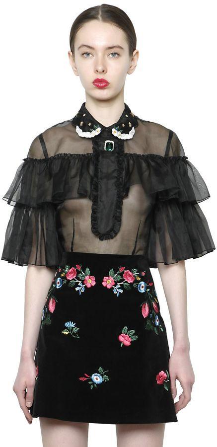 Embellished Ruffled Silk Organdy Top