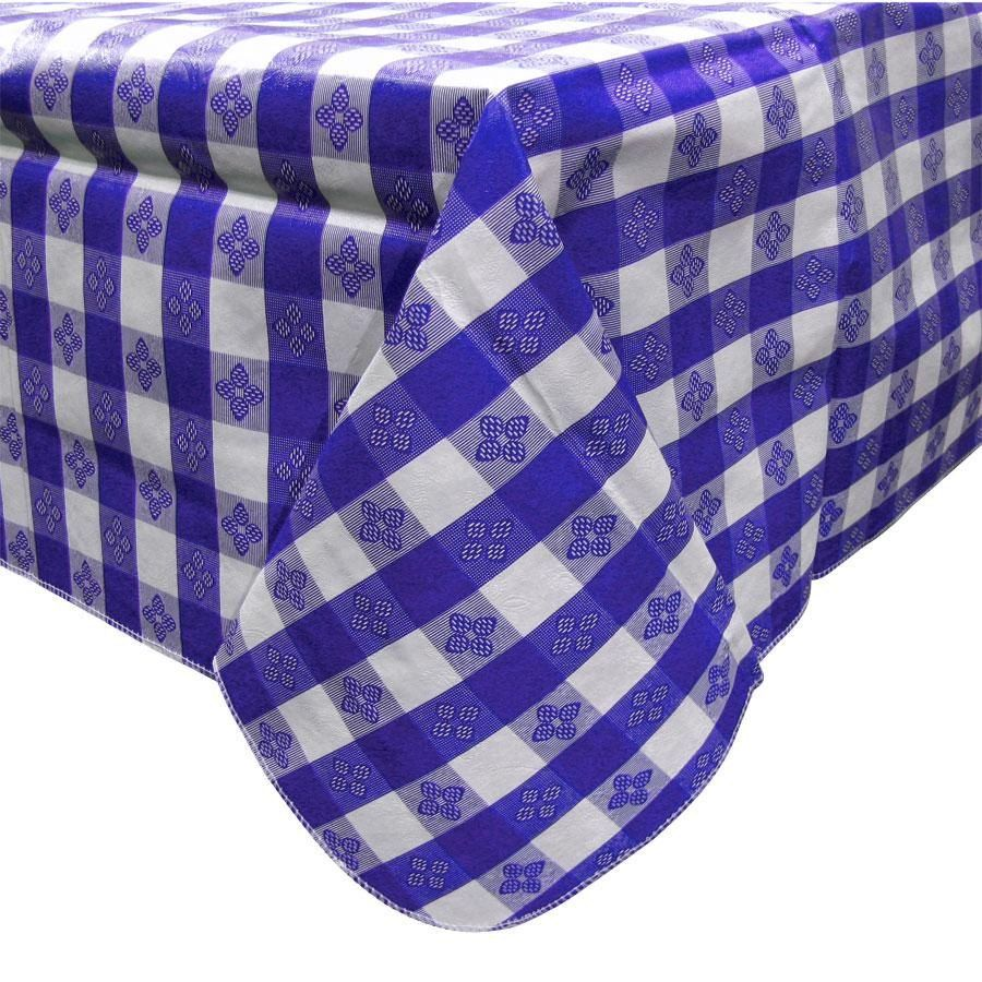 52 X 70 Blue Gingham Vinyl Table Cover With Flannel Back Craft