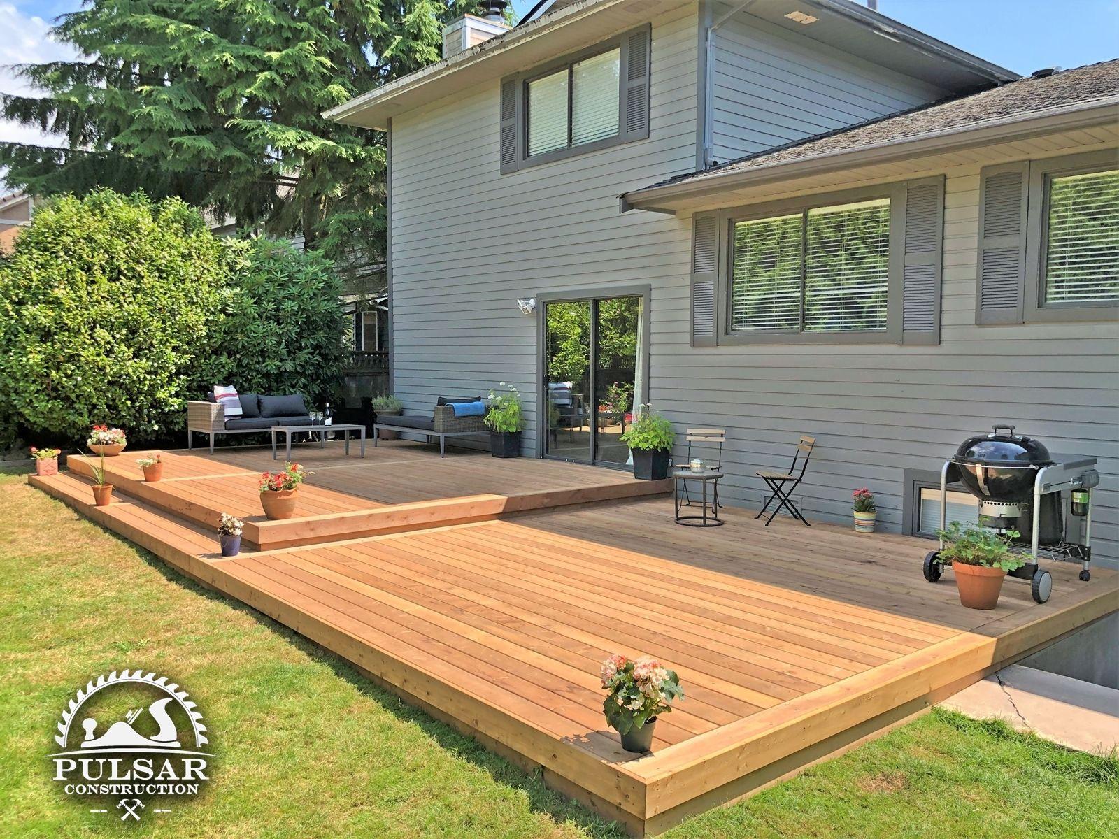 Split-Level Patio Deck in 2020 | Deck designs backyard ... on Split Level Backyard Ideas id=40619