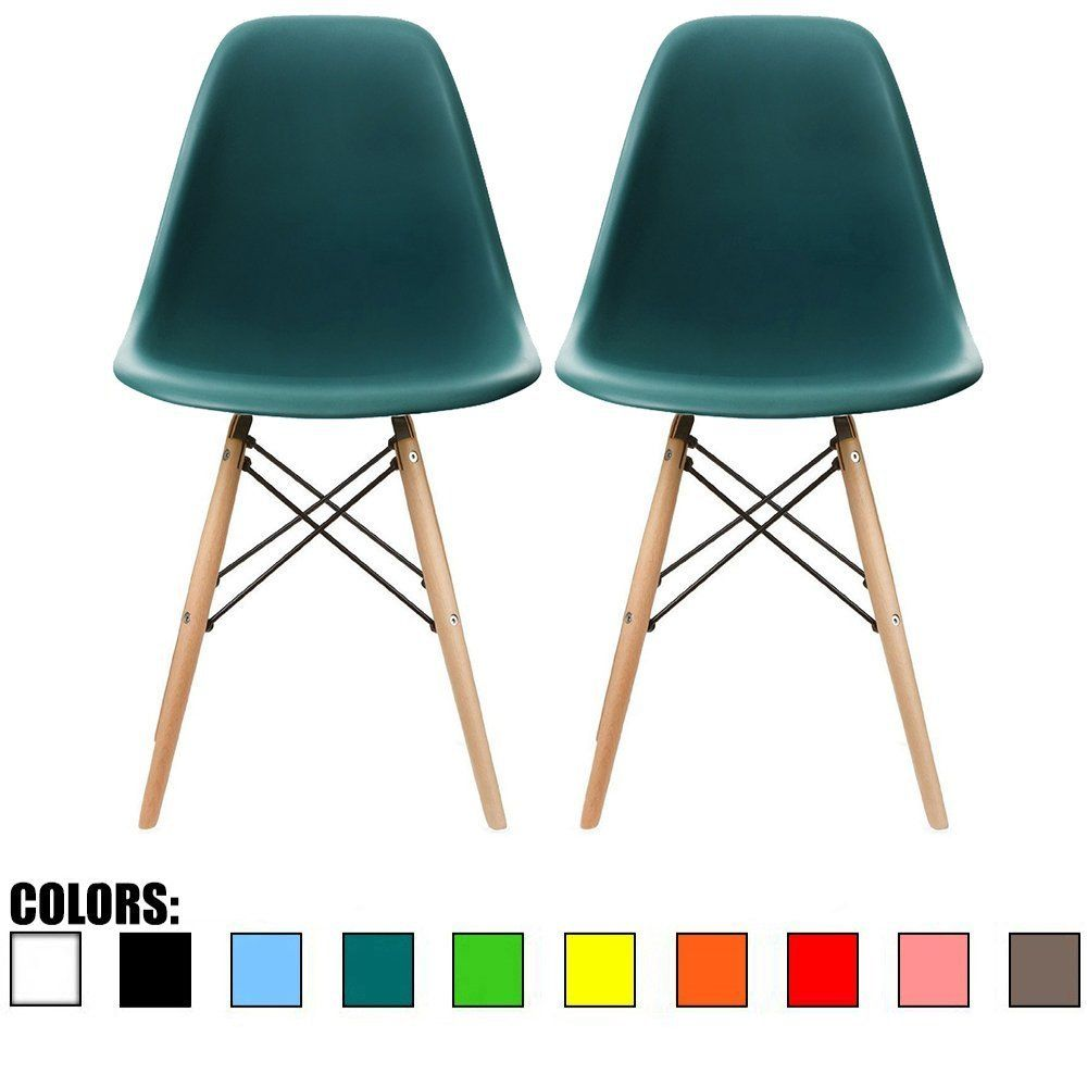 Amazon.com   2xhome   Set Of Two (2) Teal   Eames Side Chair Eames Chair  Teal Seat Natural Wood Wooden Legs Eiffel Dining Room Chairs No Arm Arms  Armless ...