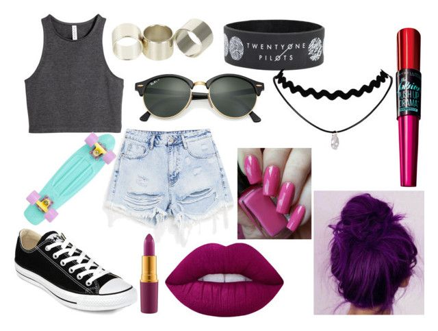 """""""Sin título #316"""" by alejandra-sassani on Polyvore featuring moda, H&M, Neon Hart, Ray-Ban, Converse, Lime Crime, MAC Cosmetics y Maybelline"""