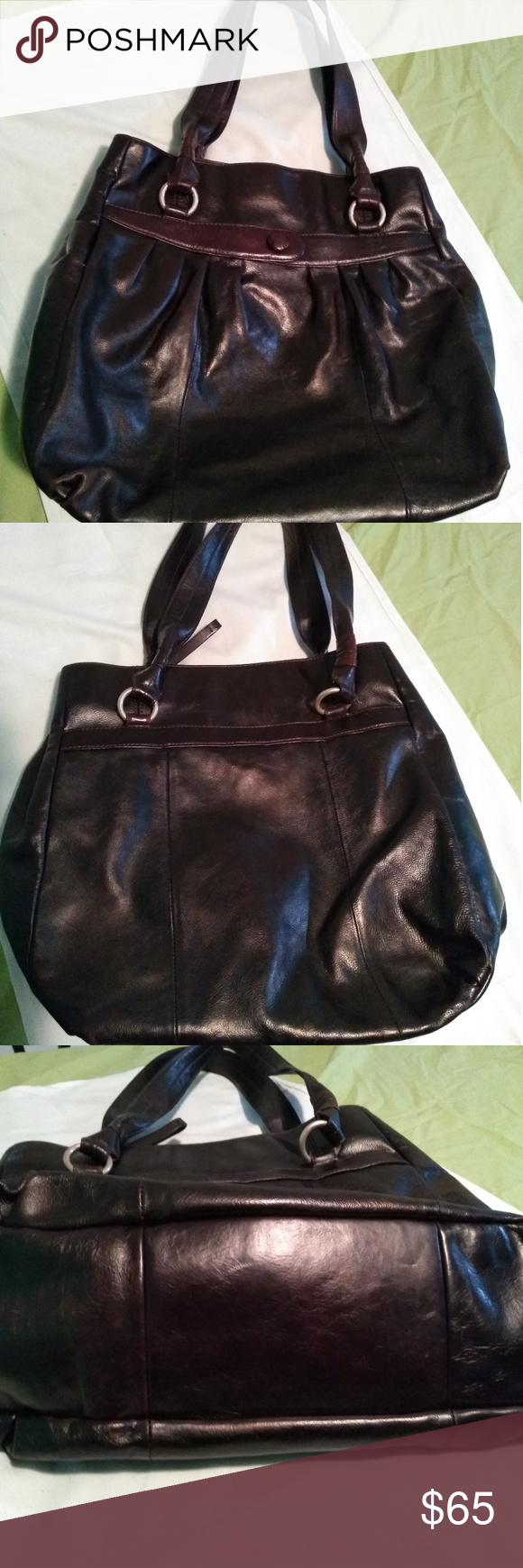 Sigrid Olsen cocoa leather tote Sigrid Olsen cocoa leather tote. Extremely  good condition. Brasso the handle rings and it will be good as new. 57812cfd89