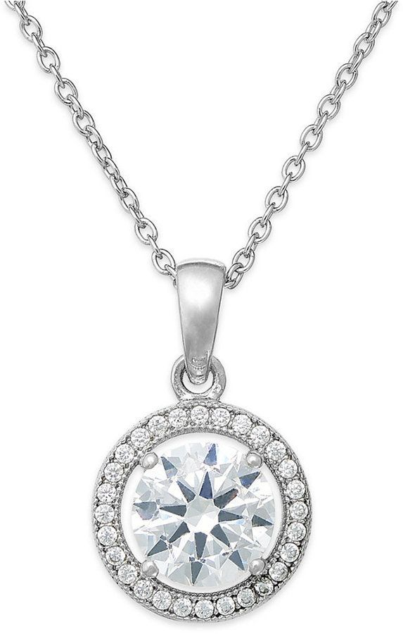 810dacac4 Giani Bernini Cubic Zirconia Halo Pendant Necklace in Sterling Silver or  18k Gold over Sterling Silver