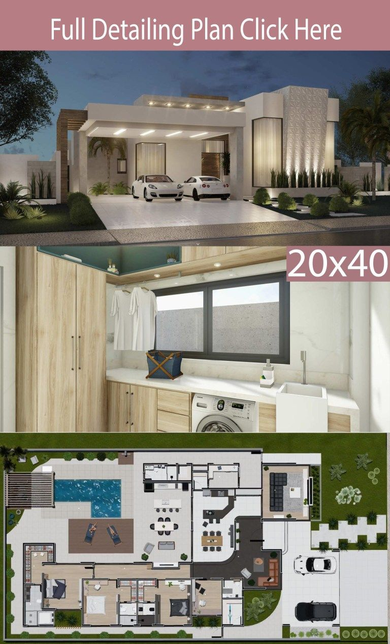 Home Design 20×40 Meter 3 suites