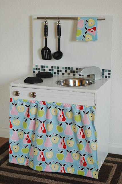 The Daily B: DIY Play Kitchen - Love the backsplash and pot rack