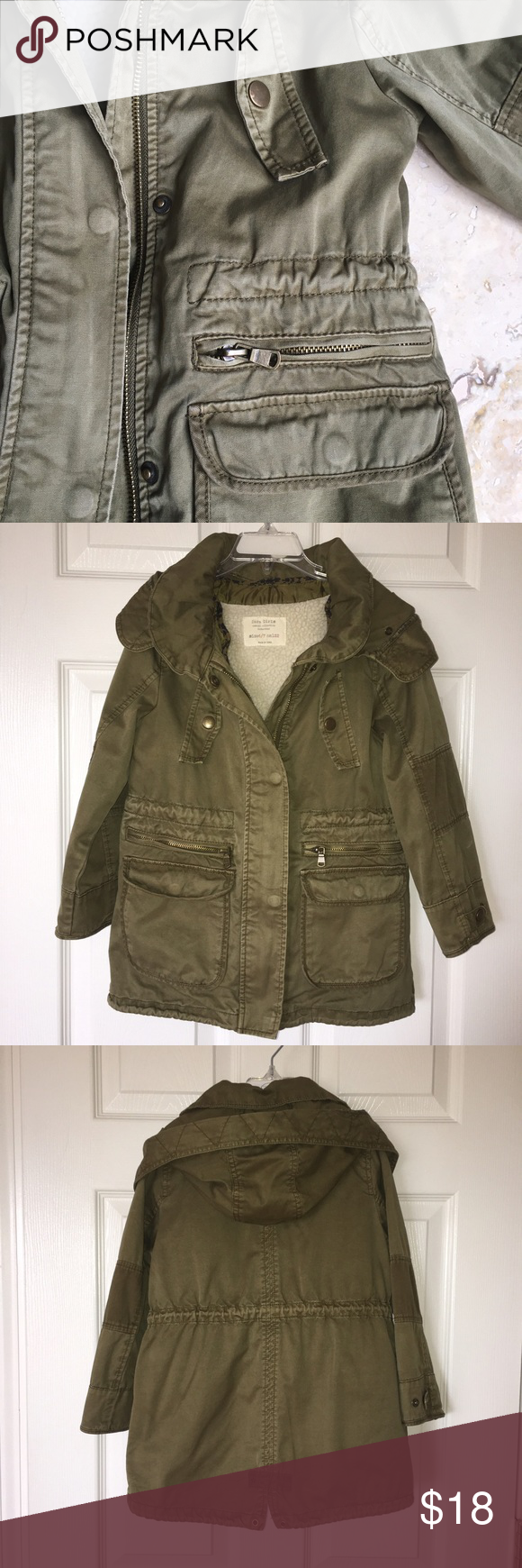 ed6613af Zara girls Parka Zara girls Parka khaki , size 6/7 cm122, w/removable faux  fur lining. Zara Jackets & Coats