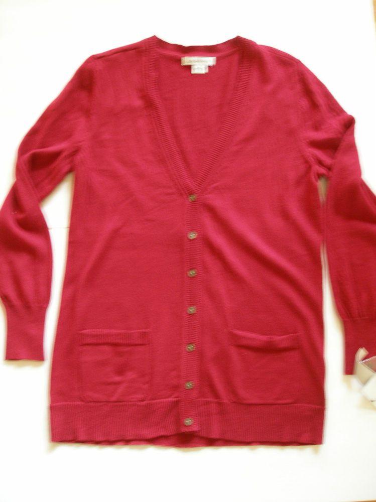 LIZ CLAIBORNE Boyfriend Cardigan Sweater Size Large Deep Red Ret $34 NWT #LizClaiborne #Cardigan. Basic wardrobe essential cardigan.