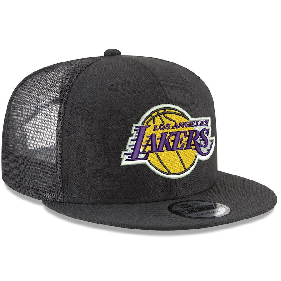 Men S Los Angeles Lakers New Era Black Trucker 9fifty Adjustable Snapback Hat Snapback Hats Los Angeles Lakers Snapback