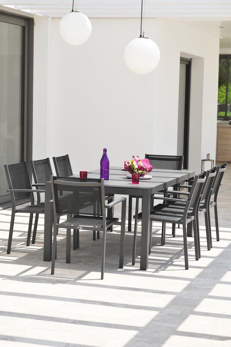 ensemble table aluminium 6 fauteuils table chaise. Black Bedroom Furniture Sets. Home Design Ideas