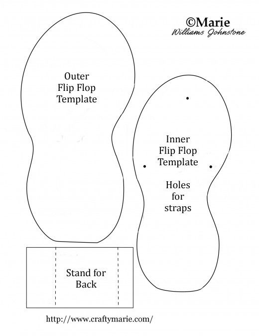 11c959d53 Shaped summer flip flop template to make cards and handmade crafts