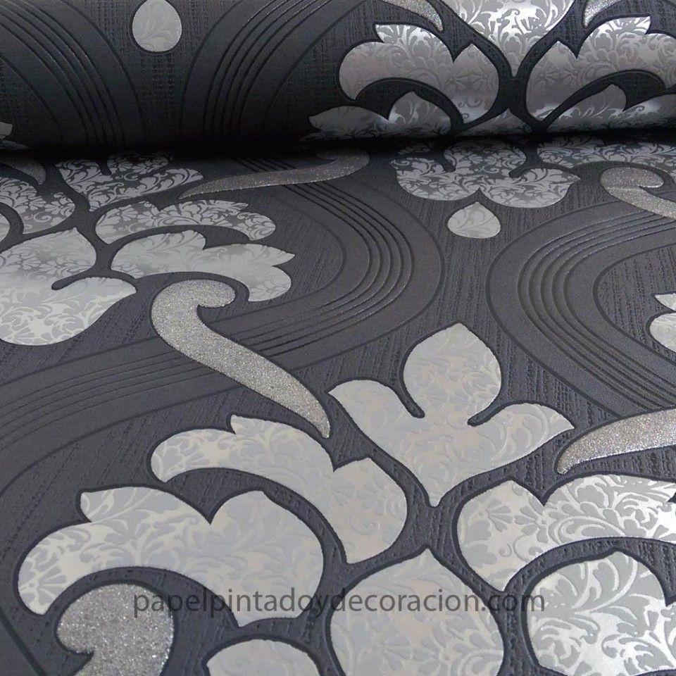 Papel pintado vintage tonos gris plata y negro PDW91330650   Papel ...