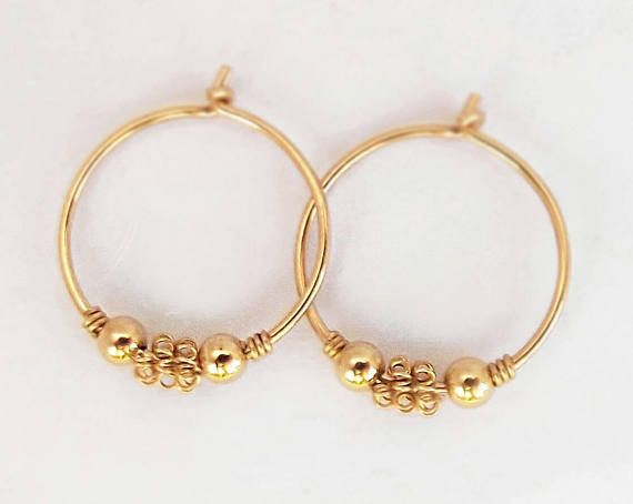 a2138de46 Thin Gold Hoop, small hoops Earrings, Baby girl gift, Gold Filled 14K, Gold  hoops small 14k, Aros pa