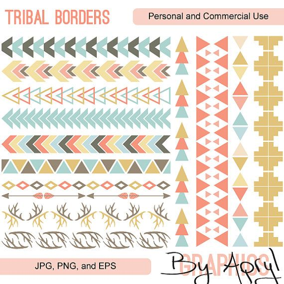 Tribal Pattern Borders Clipart Commercial Use Vector ...