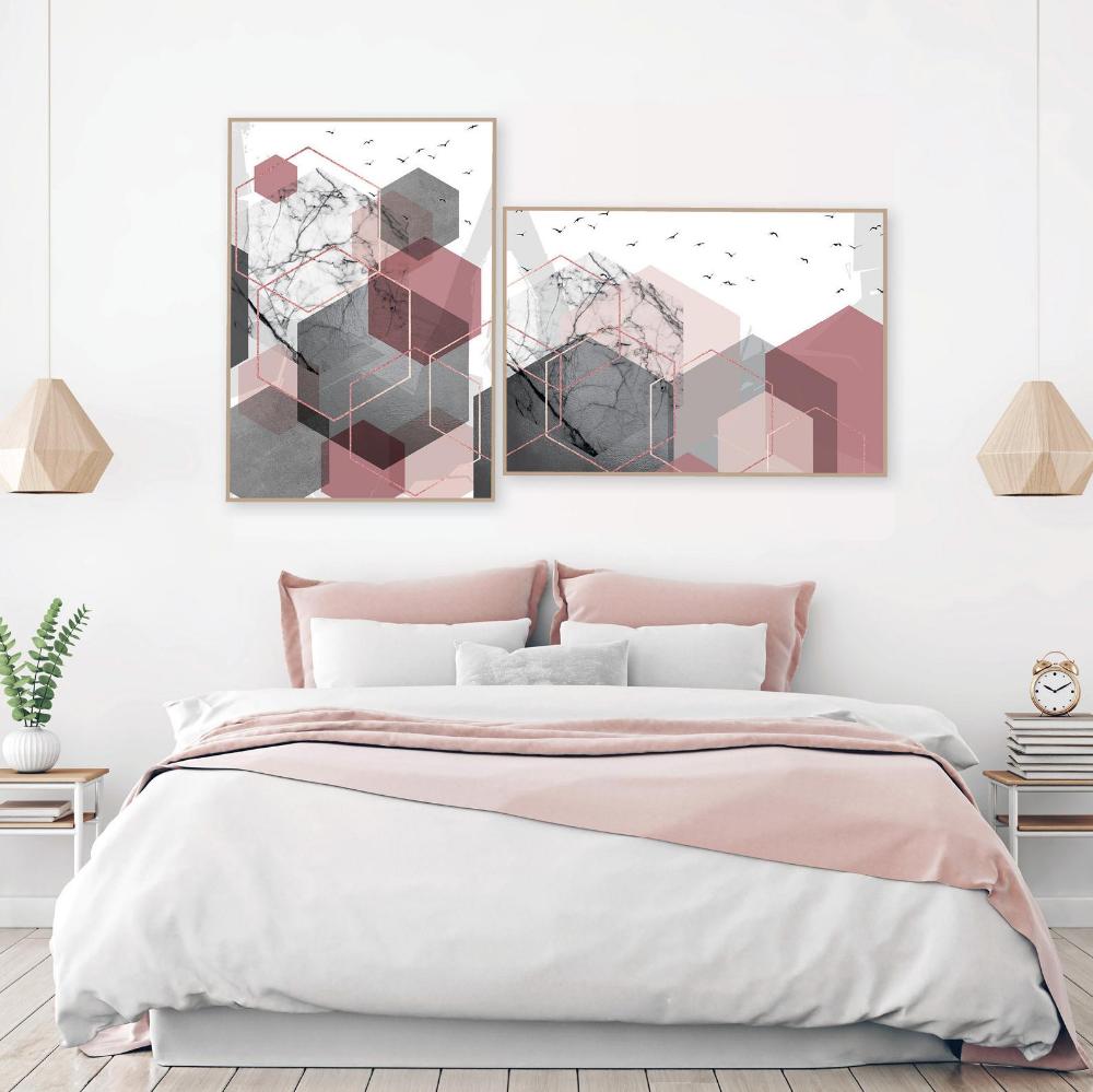 Set Of 2 Printable Blush Pink Grey Rose Gold Geometric Art Prints