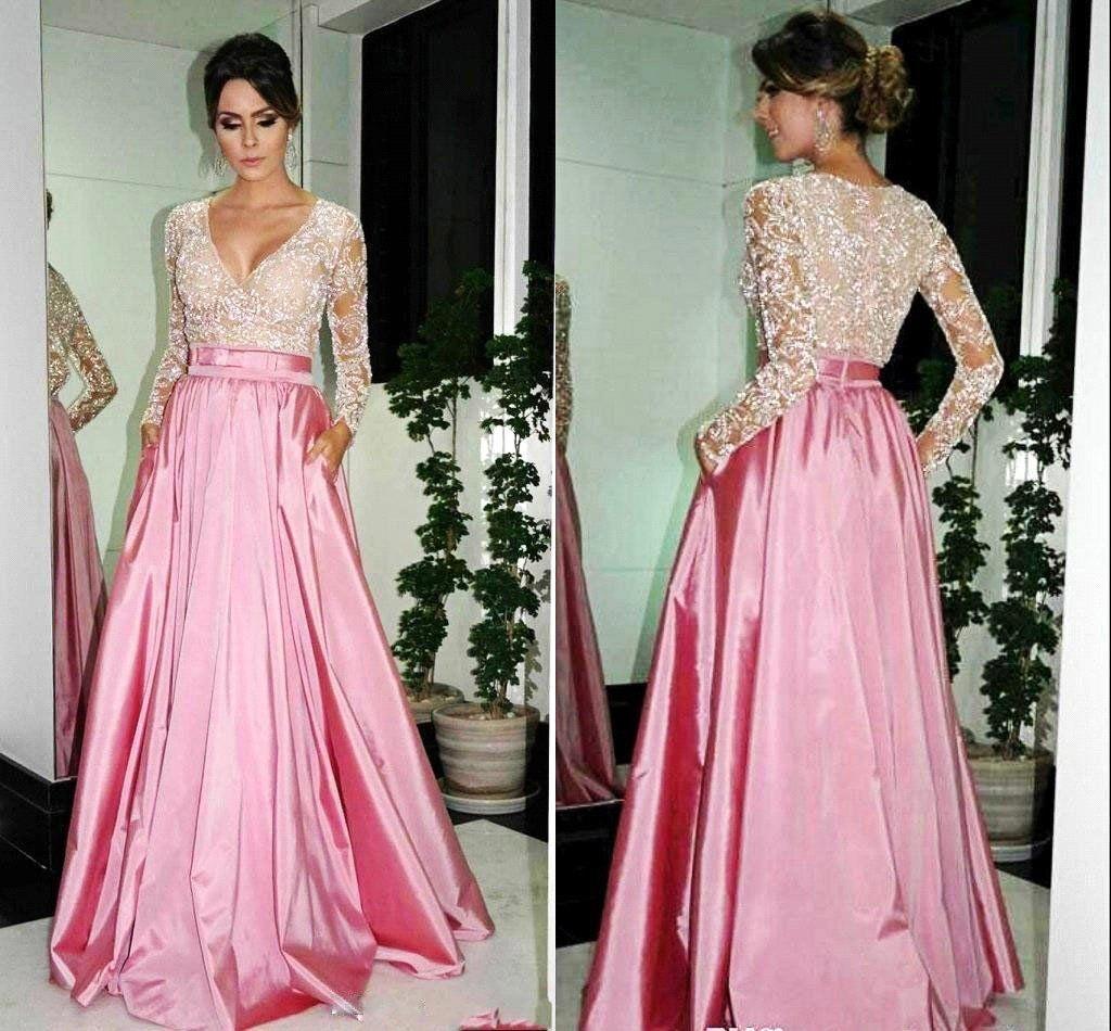 Xp long sleeves satin prom dresses vneck lace women prom dresses