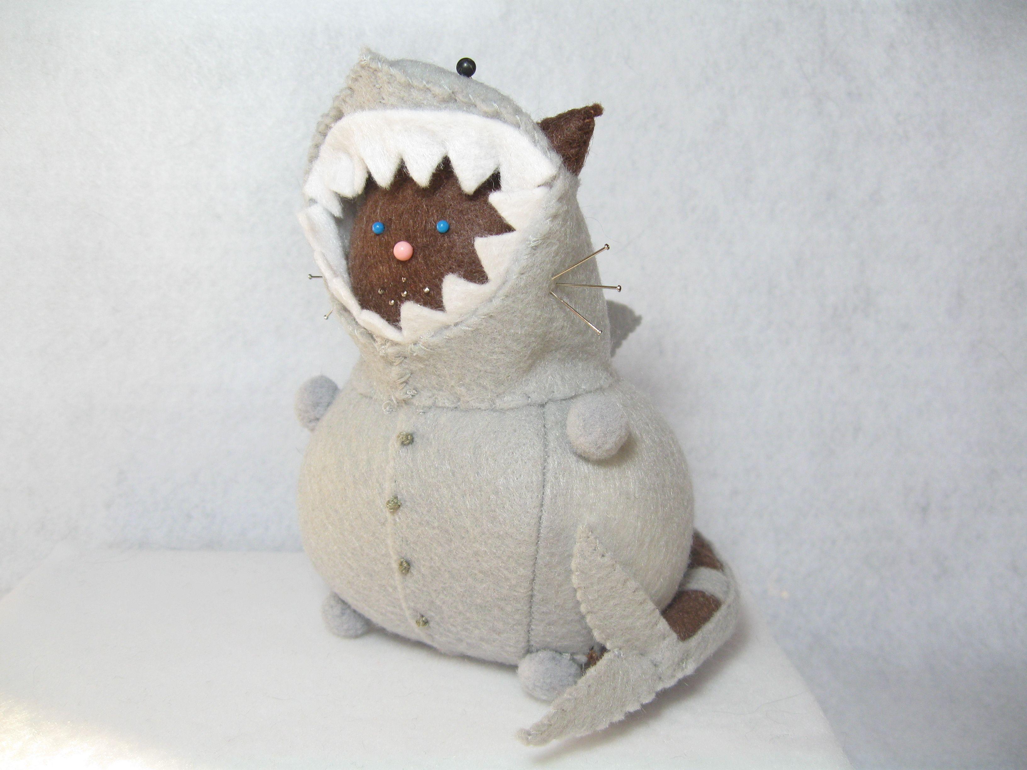 Handmade shark cat pincushion by FatCatCrafts on Etsy