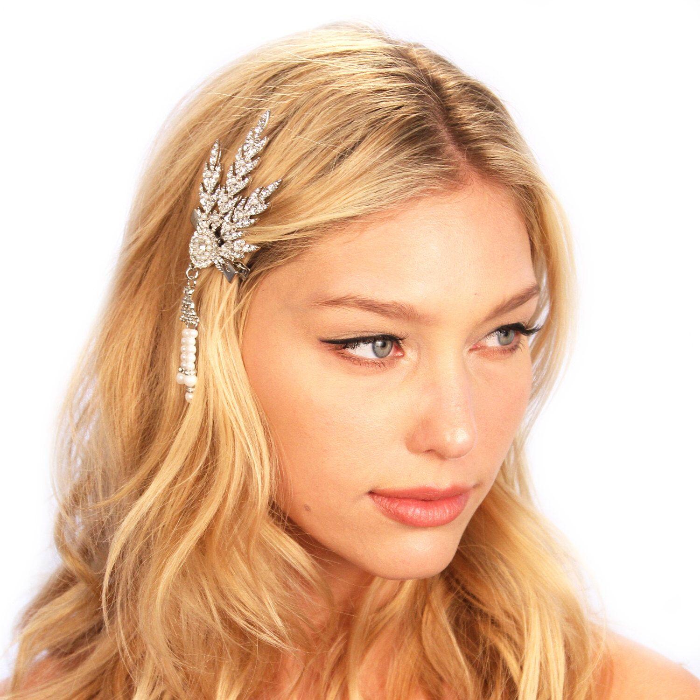 Great Gatsby Inspired Crystal Art Deco Leaf Hair Clip Headpiece by ShopKP on Etsy https://www.etsy.com/listing/223578276/great-gatsby-inspired-crystal-art-deco