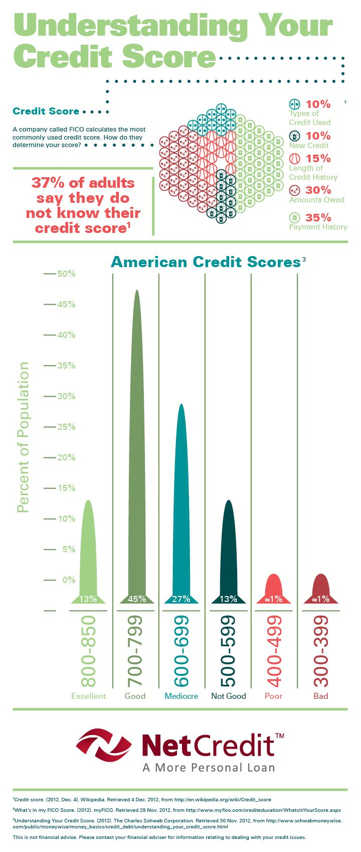 Understanding and improving credit scores infographic