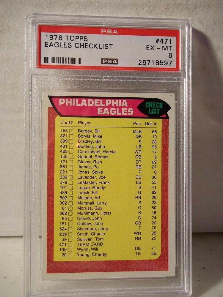 1976 topps eagles checklist psa exmt 6 football card 471