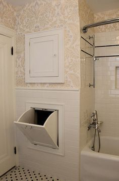 Classic 1920 S Black And White Bathroon Traditional Bathroom Raleigh By Isk Design Interiors Llc Laundry Chute Laundry Shoot Bathrooms Remodel