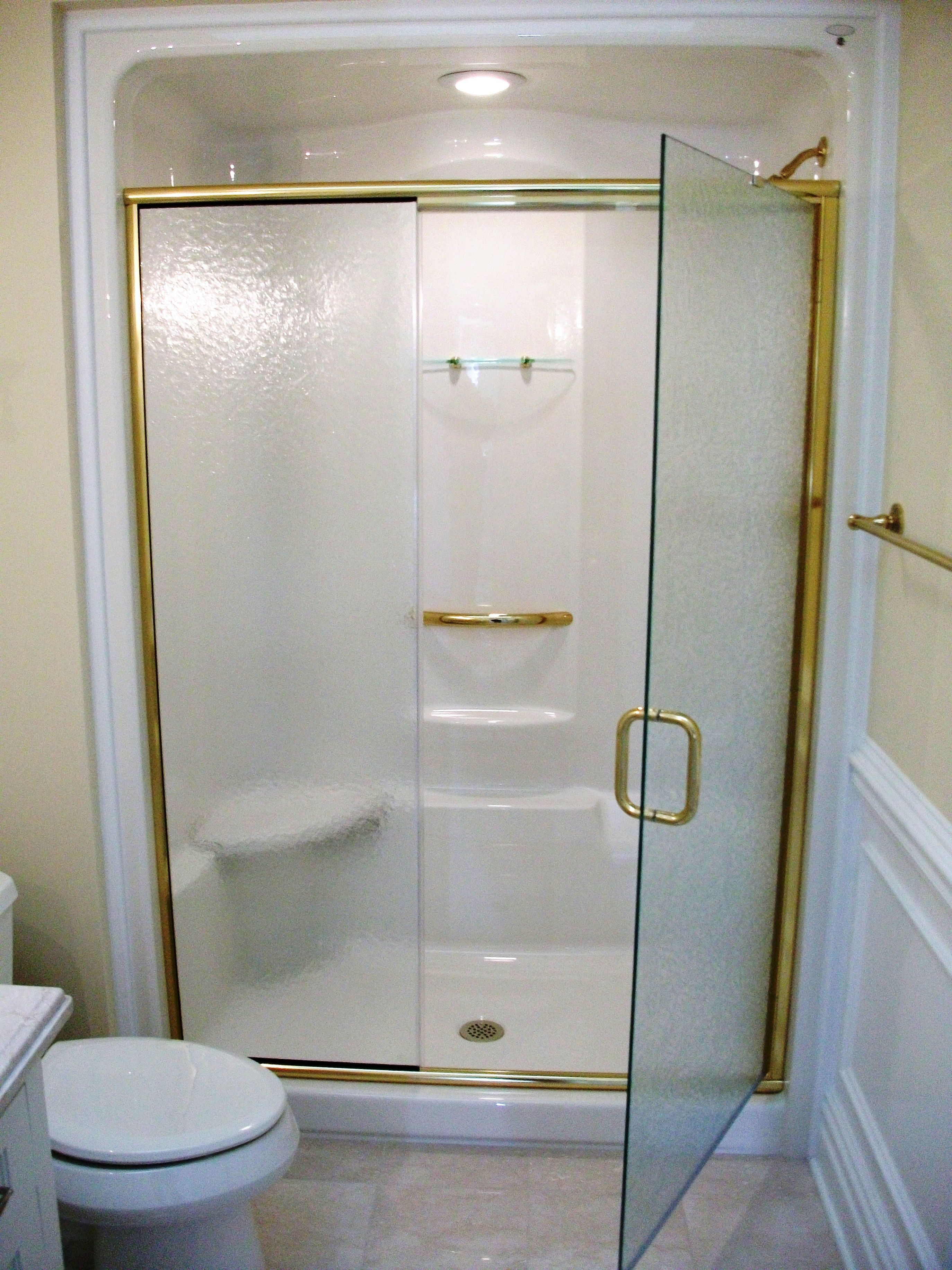 obscure glass shower doors. Semi Frameless Shower Enclosure: Obscure Glass With Gold Fixture Finish - Furnished \u0026 Installed By Doors
