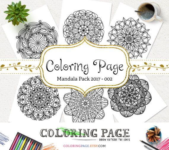 Printable Coloring Page Doodle Mandala Pack Instant Download Adult Book Art Therapy Pages