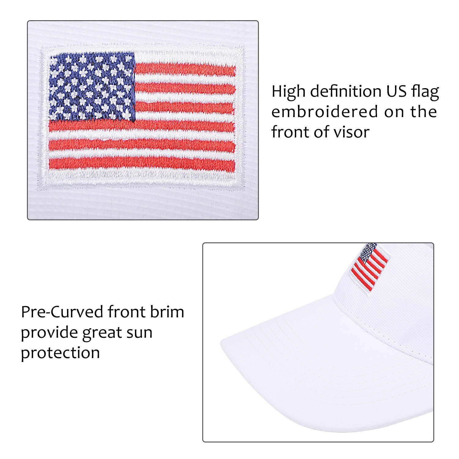 71ede1d7b40 Women Golf Clothing - American Flag Sun Visor Adjustable Cap Patriotic  Sports Tennis Golf Hats for