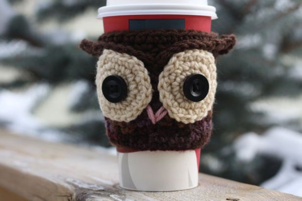 Crochet Owl Coffee Cup Cozy / Sleeve - Brown and Purple (Ready to Ship)