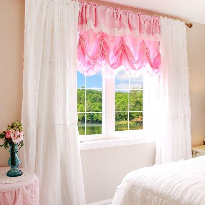 Princess Pink Satin Balloon Curtain Shade