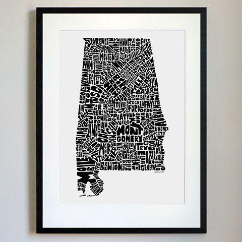Alabama Typography Map Black/White Print