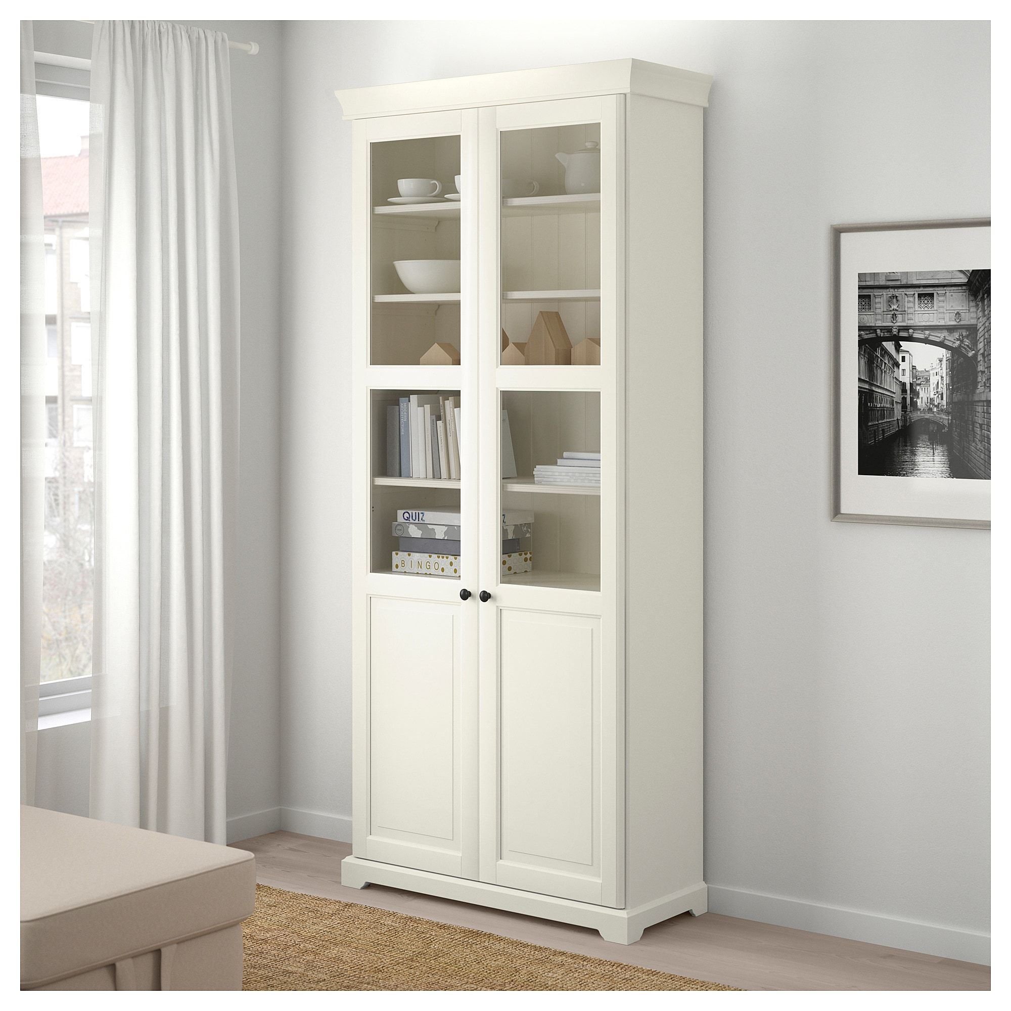 Ikea Liatorp Bookcase With Glass Doors White In 2019