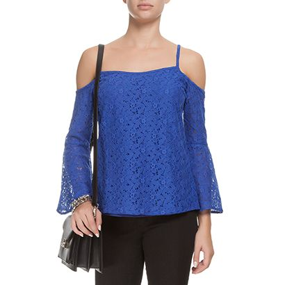 MARKET 33 - Blusa Market 33 renda ombros - azul