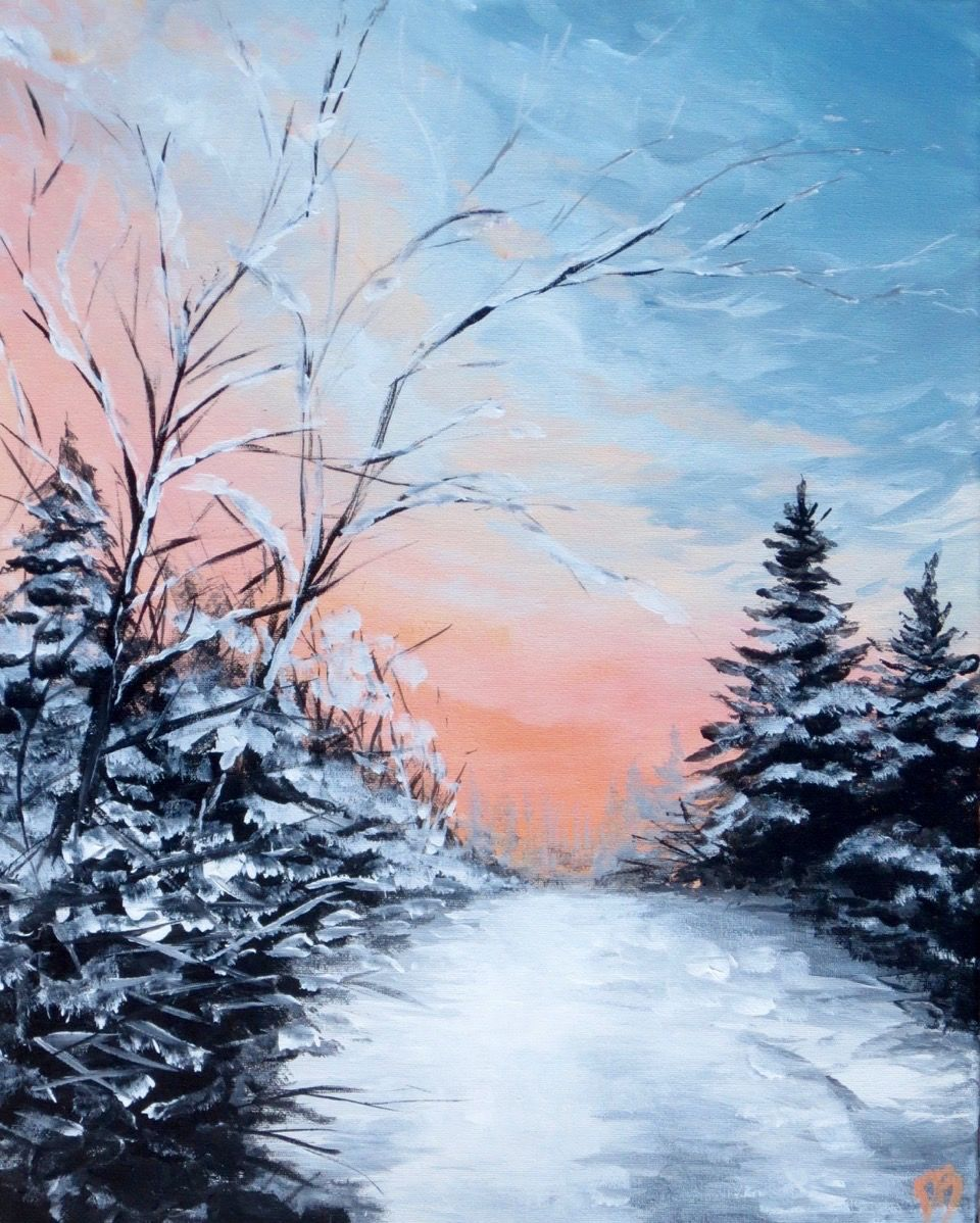 Wine Down Wednesday Winter Pastels 10 Bottomless Sangria Winter Scene Paintings Winter Painting Winter Pastels