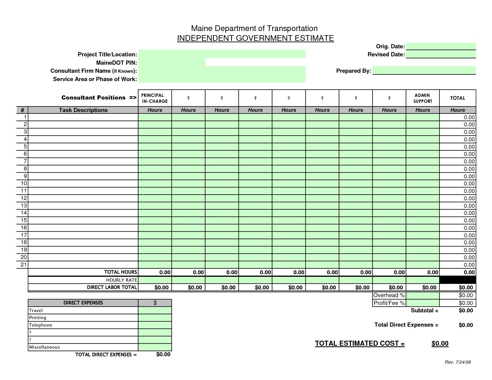 construction bid sheet template construction estimate blank