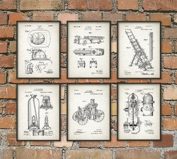 Firefighting Patent Prints Set Of 6   Firefighter Art Posters   Fireman    Fire House   Fire Equipment   Home Decor   Giclee Art Print