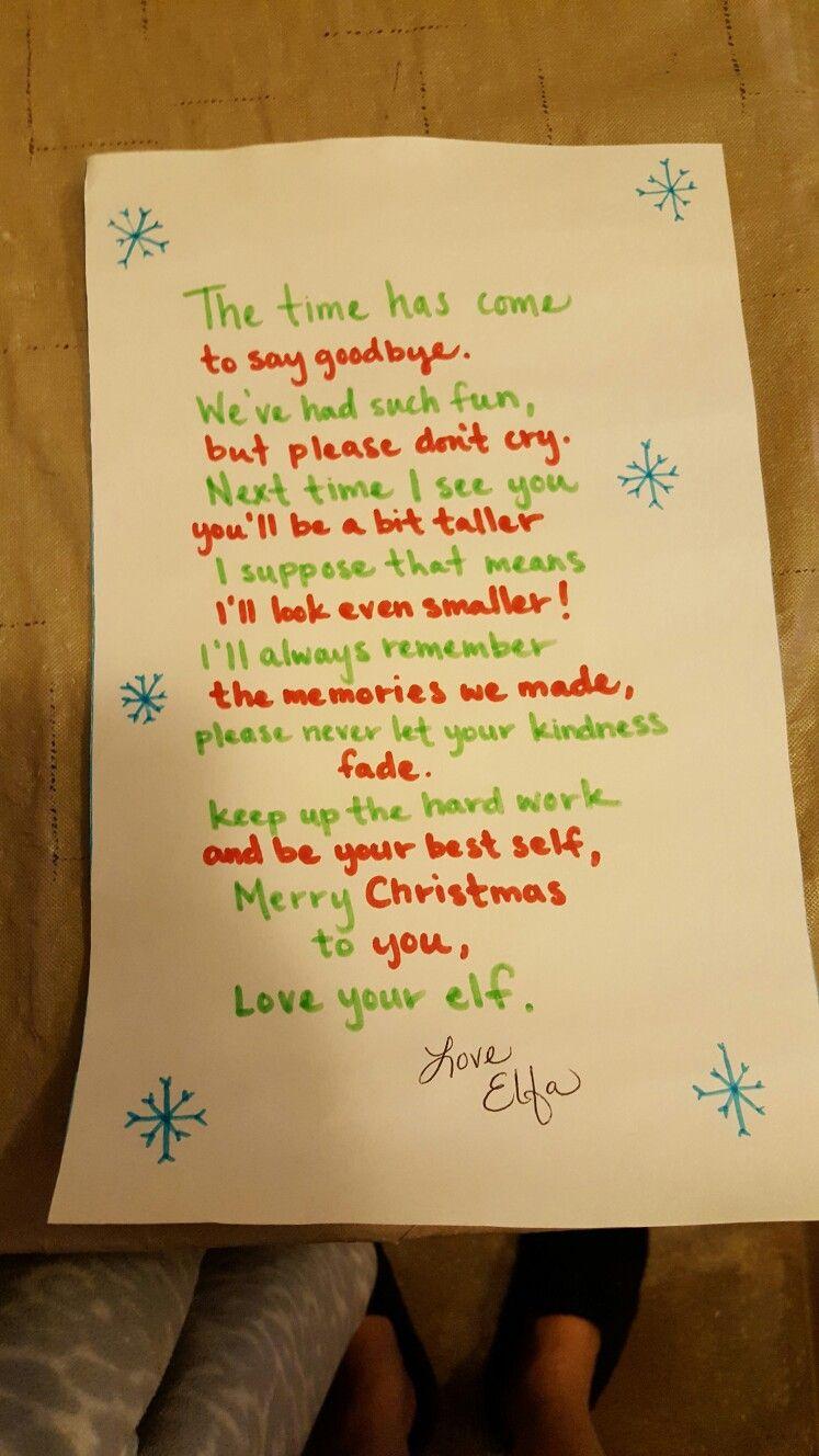 Elfas Goodbye Letter  Christmas    Letters