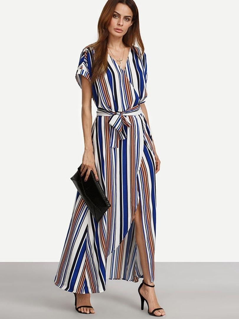 50adb43ac44 Vertical Stripes Short Sleeve Maxi Dress  Dress