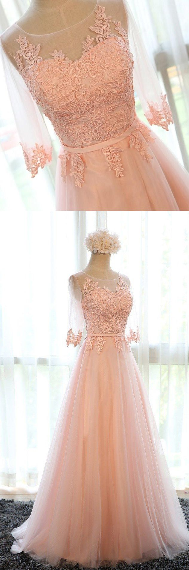 Customized sleeveless dresses long pink prom evening dresses with