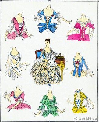 Corsages.  la mode Louis XV.  costumes Rococo.  18ème siècle vêtements