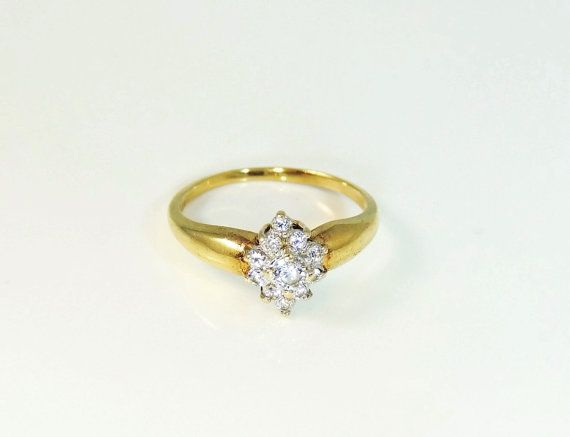 10k Cz Cocktail Ring 10k Gold Cz Cluster Ring 10k Cubic Zirconia Cocktail Ring Vintage Jewelry Box Vintage Jewelry Jewelry