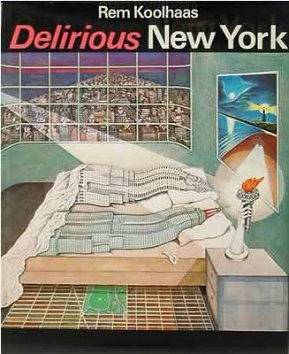 "First edition cover of ""Delirious New York"" by Rem Koolhaas. A signed copy of this edition fetches over $2,000."