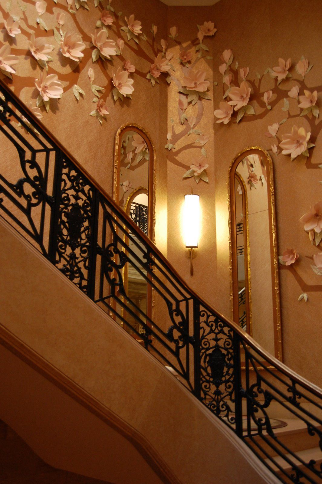 Painted romantic staircase with 3d flowers
