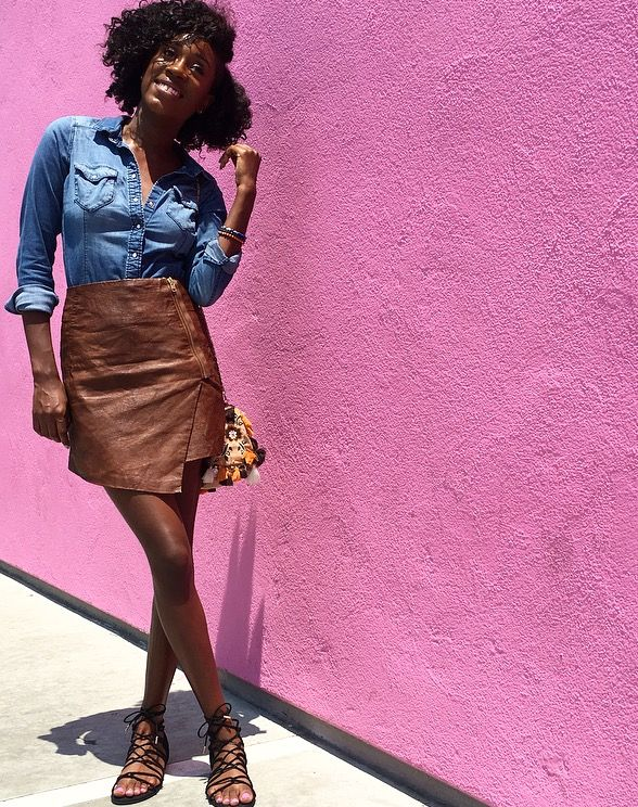 Style of  The Week: Faux leather skirt and jean shirt — The Black Girls Guide