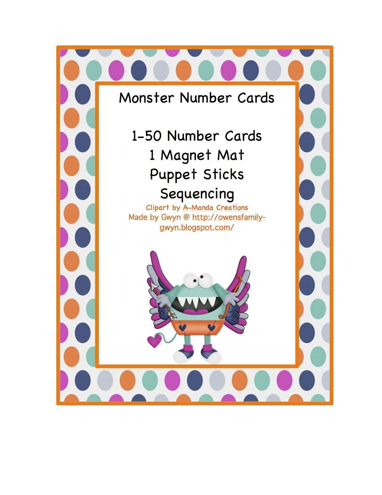 Monster Number Cards 1 50 1 50