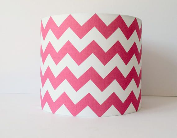 Hot Pink And White Wide Chevron, Zig Zag Lampshade. Ideal For A Girlu0027s  Bedroom