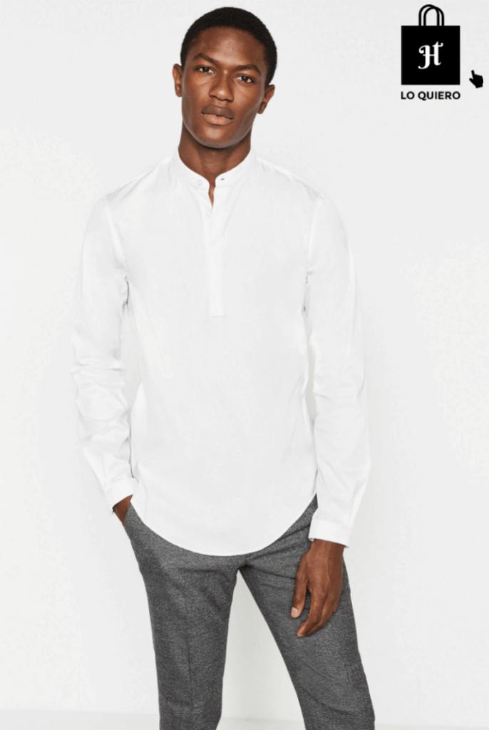 2ac4953eb9 Camisa Cuello Mao de Hombre Blanca - Jotahoma blog de moda para hombre.  Camisa de hombre Zara  Jotahoma  Blog  Moda  ModaHombre  CuelloMao
