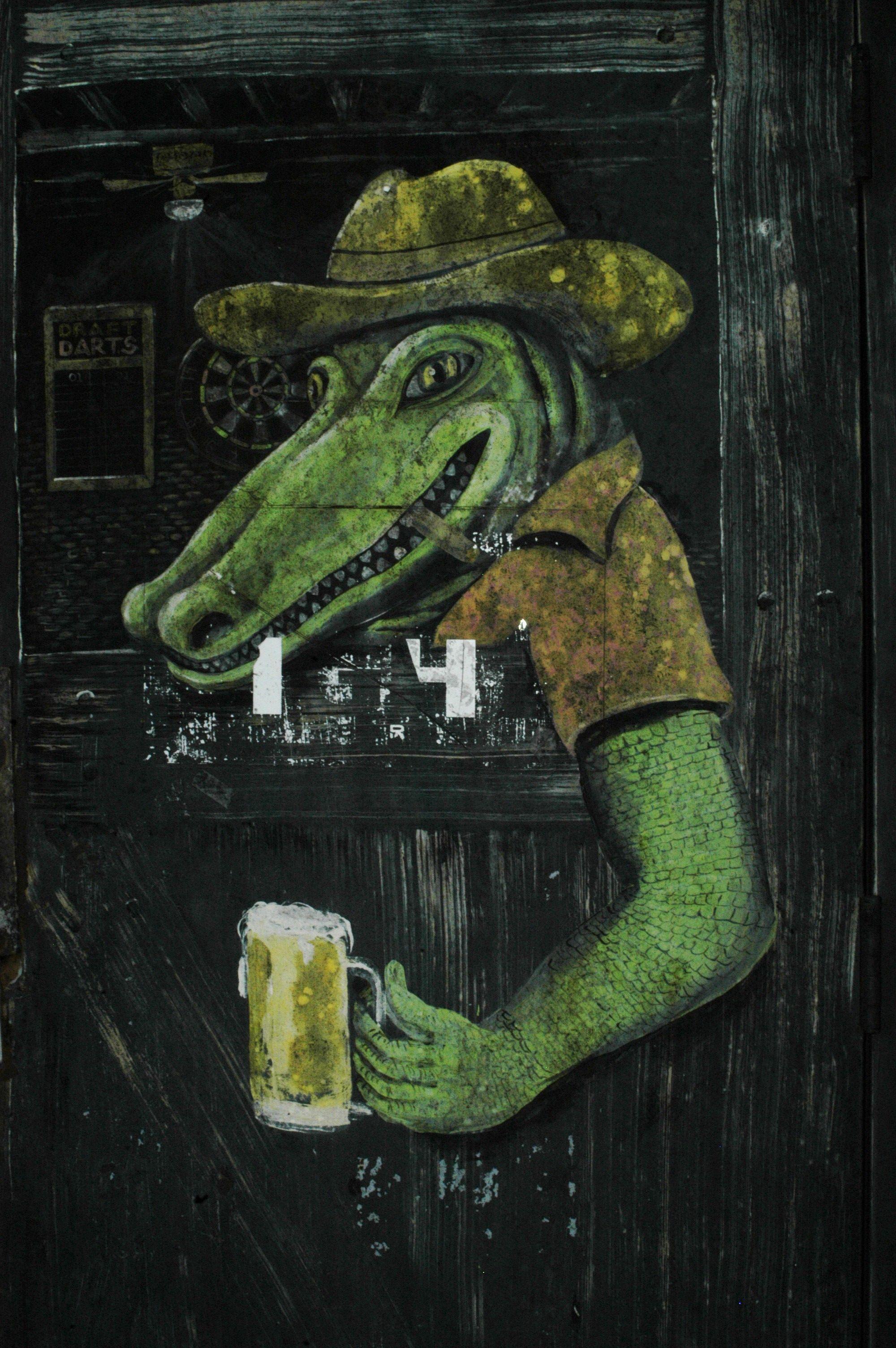 Louisiana gator painting on office door artist design crafts